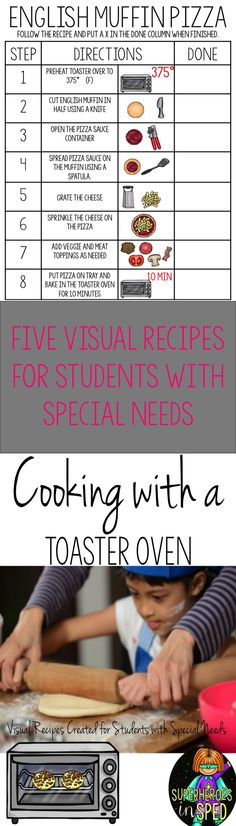 Cooking in a Special needs classroom can be super hard if you don't have a full kitchen! This is 5 visual recipes and all you need is a TOASTER OVEN!