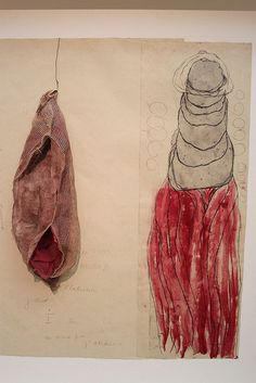 Louise Bourgeois, La Maladie de L'amour (#2), 2008 – etching, watercolor, pencil, fabric and wire on paper.