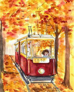 Tram in autumn foliage Otoño Art And Illustration, Watercolor Illustration, Watercolor Paintings, Kunstjournal Inspiration, Art Journal Inspiration, Galaxy Drawings, Art Sketchbook, Cute Drawings, Cute Art
