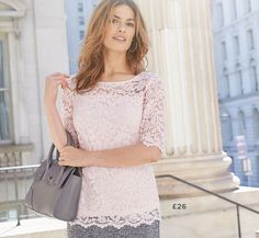 Lace Shell Top: This pretty lace top with our new round scalloped lace hem, this top can be worn for an array of occasions from smart day wear to night with the accompaniment of a few choice accessories. Perfect for wearing with jeans or a tailored skirt.