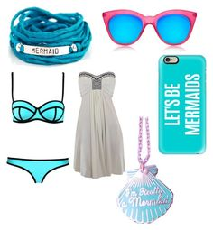 """""""Mer-swim at the beach"""" by fashiondesigneranna ❤ liked on Polyvore featuring Blooming Lotus Jewelry, Le Specs and Casetify"""