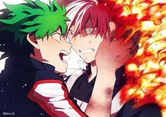 Midoriya Izuku x Todoroki Shouto My Hero Academia Memes, Hero Academia Characters, My Hero Academia Manga, Boku No Academia, Buko No Hero Academia, Lgbt Anime, Different Colored Eyes, Familia Anime, Levi X Eren