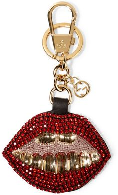 Gucci - Crystal And Bead-embellished Leather Keychain - Red