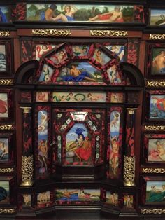 FCBTC / Original 18th Century Monumental Cabinet on Stand / Italian Bargueno / European. ca. 1790. $174,000 (from $220,000.00). Important monumental cabinet on stand. The case of the cabinet is walnut, veneered with rich ribboned ebony and luxuriously decorated with turtle shell, bronze, carey. Bargueno with 49 glass paintings in bright colors, depicting gods of Olympus.