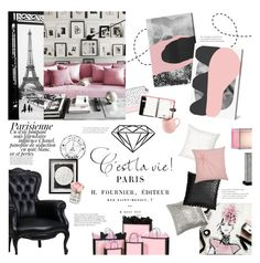 """""""Parisienne Flat"""" by happilyjynxed ❤ liked on Polyvore featuring interior, interiors, interior design, home, home decor, interior decorating, Casetify, ACCO, Magdalena and Jonathan Charles Fine Furniture"""