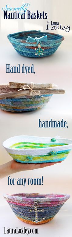 LauraLoxley.com on Etsy has super unique nautical gifts for anyone who loves to play in the sea! Created with hand dyed fabric in her studio! Super fun beachie charms & real lake driftwood, you can't go wrong with one of these handmade coiled baskets! Shop LauraLoxley.com today!