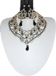 Bollywood Style Indian Imitation Necklace Set / AZBWBR022-GGR Arras Creations http://www.amazon.com/dp/B00IH4DBZM/ref=cm_sw_r_pi_dp_Y9BOtb1ZETRV1KDF