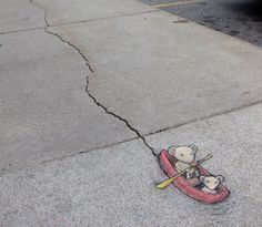 David Zinn is an artist from Michigan . He runs around all day in the streets of Ann Arbor , with street construction, cracks, etc. On the road with chalk to create a lot of street fairy tales.