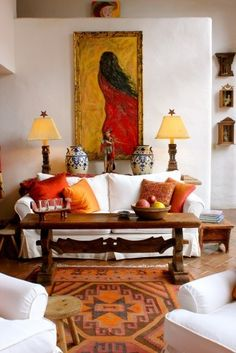 Spanish Style interiors - Home Professional Decoration Spanish Style Interiors, Spanish Style Decor, Spanish Style Homes, Mexican Style Decor, Spanish House, Eclectic Living Room, Living Room Decor, Living Spaces, Living Rooms