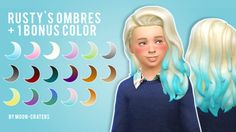"""moon-craters: Long Flipped for Girls in """"Rusty's Ombres"""" + 1 Bonus Color Hi, an anon requested this so here is the Long Flipped hair for girls in """"Rusty's Ombres"""" + a bonus color. (Ginger to Blonde) You need the mesh by Kiara, get it here. - Download- Non-Adfly The adult versionTOUcredit: S4S, Rusty, Kiara"""