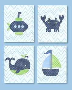 Babyzimmer Gestalten Weiße Tierenbilder Grün Blau. Dies Ist Eine Sammlung  Der Vier Drucke Oben Gezeigt. Drucke Werden Frisch Auf Bestellung Auf