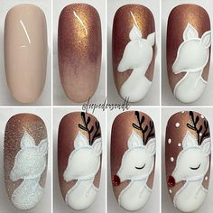 Here is a tutorial for an interesting Christmas nail art Silver glitter on a white background – a very elegant idea to welcome Christmas with style Decoration in a light garland for your Christmas nails Materials and tools needed: base… Continue Reading → Xmas Nail Art, Christmas Manicure, Xmas Nails, Christmas Nail Art Designs, Holiday Nails, Disney Christmas Nails, Disney Nails, Nail Art Hacks, Cute Nails