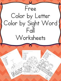 Printable Fall Coloring Pages - Color by letter and Color by sight word worksheets just in time for fall!