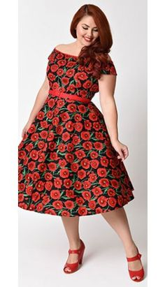 9440d509dcaba Hell Bunny Plus Size Pin Up Black   Red Cordelia Poppy Dress Plus Size  Vintage Dresses