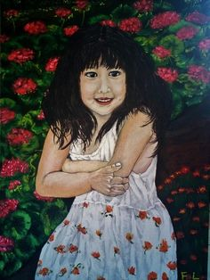 "This is a piece of original fine art painting of a girl painted by artist Liu. on canvas , Realistc Paintings or Life Like Paintings,SIZE: 51cm x 71cm / 20"" x 28"" ,Signed on the front; Dated on the back., It was done in August  2014. It's on sail for $1,599. For more details visit our website www.start1stgo.com."