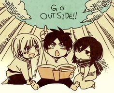 Attack on Titan - Little Armin, little Eren, and little Mikasa : Go Outside ! Manga Anime, Anime Chibi, Chibi Eren, Eren X Mikasa, Armin, Animes On, Levihan, Kawaii, Eruri