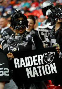 A Raider fan enjoys the prematch atmosphere during the NFL match between the Oakland Raiders and the Miami Dolphins at Wembley Stadium on September 28, 2014 in London, England.