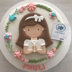 Comunion First Communion Party, Communion Cakes, First Holy Communion, Religious Cakes, Party Cakes, Holi, Cake Toppers, Fondant, Cake Decorating