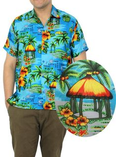 74cdb121 La Leela Hawaiian Shirt Men ShortSleeve Front Pocket Print caribbean Camp  Casual at Amazon Men's Clothing store: