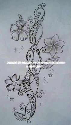Flower Tattoo Design with Tipanier and Hibiscus Models inserted on a STrip of Polynesian Ancients Symbols mixed with Arabesques