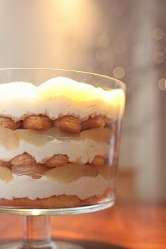 White Chocolate Tiramisu Trifle with Spiced Pears.