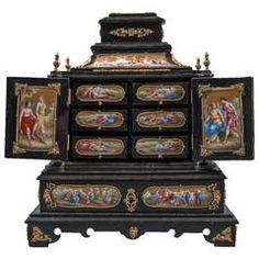 Large Austrian Viennese Enamel Bronze-Mounted Ebony Jewelry Box, circa 1900