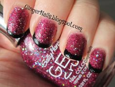 Glittery pink with black tips #nailart