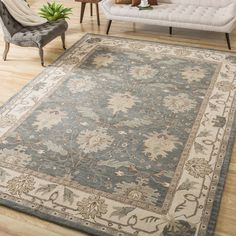 Nourison Hand-tufted Caspian Blue Wool Rug (8' x 10'6) - Overstock Shopping - Great Deals on Nourison 7x9 - 10x14 Rugs