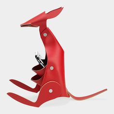 Kangaroo Desk Organizer: holds notes, pens and pencils, or a  cell phone in its pocket, and messages in its mouth. Made of 100% reconstituted leather, an environmentally friendly material composed of recycled leather.