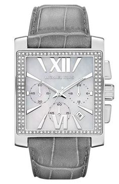 a917ff0402e Michael Kors  gia  Square Chronograph Leather Strap Watch