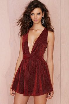 Red Alert Metallic Shimmer Dress