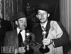 Barry Fitzgerald and Bing Crosby Size Up Their 'Going My Way' Oscars.