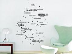 Wandtattoo Deutschlandkarte mit Städten