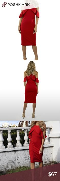 "RED RUFFLE APLIQUE BODYCON DRESS Bodycon with high fashion vibes, thick knit bodice solid all throughout. Ruffle around the shoulders and fit through the midi constructed body. Approx. 41"" from high point of shoulder to hem, 13.5"" across waist, and 16"" across hips.  30% Viscose 65% Poly 5% Spandex Dresses Midi"