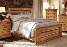 Progressive Furniture Willow Slat Panel Bed - Distressed Pine - Queen - Headboard Only Upholstered Platform Bed, Upholstered Beds, Birch Lane, Pine Beds, Bed Slats, Headboard And Footboard, Queen Headboard, Rustic Headboards, Plywood Headboard