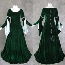 3d41783ac8d2 Green Velvet Medieval Renaissance Cosplay Gown Dress Costume LOTR LARP  Wedding S Cosplay Kostýmy