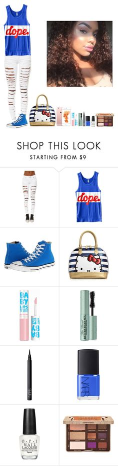 """""""-Glo Queen"""" by thegloup-reina on Polyvore featuring Tripp, Converse, Hello Kitty, Maybelline, Too Faced Cosmetics, NARS Cosmetics and OPI"""