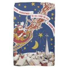 Vintage Christmas Santa Claus With Flying Reindeer Hand Towel