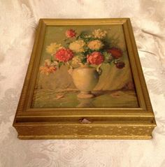 Vintage Jewelry Box with Mirrored Inside, Floral Bouquet Keepsake Box, Vintage Floral Jewel Box by DartmouthHill on Etsy https://www.etsy.com/listing/287657639/vintage-jewelry-box-with-mirrored-inside