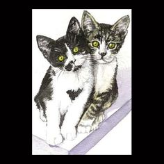 ACEO giclee PRINT watercolor friends KITTENS CATS tabby tuxedo SFA CRIDER http://www.ebay.com/itm/290720967065