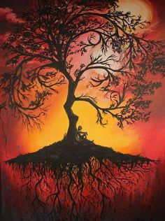 Beautiful sunset tree with roots painting. I love this tree!