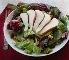 Vegan Holiday Recipes | Pear, Walnut, and Cranberry Salad recipe by Jill Nussinow