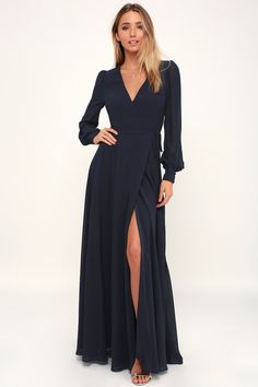 It's easy to be swept away by the romance of the Lulus My Whole Heart Dark Navy Blue Long Sleeve Wrap Dress! Long sleeve maxi dress with flowy wrap skirt. Belted Shirt Dress, Maxi Wrap Dress, Maxi Dress With Sleeves, Dress Long, Long Sleeve Formal Dress, Long Winter Dresses, Fancy Dress, Prom Dress, Navy Bridesmaid Dresses