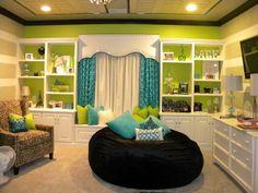 Davis Creative Painting, LLC - girl's rooms - Benjamin Moore - BM 405 perennial - teens room, painted graphic wall, painted ceiling, green,