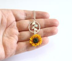 Jewelry Christmas Gi - February 10 2019 at Cute Jewelry, Jewelry Gifts, Jewelery, Jewelry Accessories, Sunflower Necklace, Sunflower Jewelry, Bridal Jewelry Sets, Wedding Jewelry, Sunflower Gifts