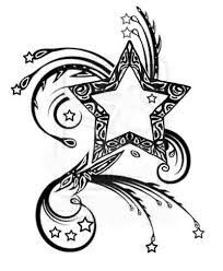 Star Tattoos, Love Tattoos, Tribal Tattoos, Shooting Star Drawing, Shooting Stars, Mehndi, Henna, Tattoo Templates, Printable Star