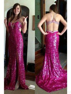 Shining Sequin Split Backless   Long  Prom Dress Evening Dresses #promdresses #SIMIBridal