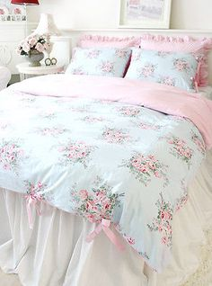 Shabby-Chic-Cottage-Floral-Quilt-Duvet-Cover-Set-Blue-Pink-Check-Ties-Queen-Size