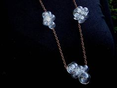 Glamorous Glass by Petra Glasova: Share my fascination with dreamy bubble glass jewellery. Clear glass bubble jewellery set containing a necklace, a bracelet and earrings. Glass Necklace, Glass Jewelry, Jewelry Sets, Jewellery, Types Of Earrings, How To Make Shorts, Copper Color, Antique Copper, Petra