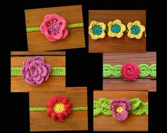 Boho Crochet Flower Headband Pattern - Have fun with these wildflowers! Each headband ties in the back so it will fit any head size, from infant to adult. This is a CROCHET PATTERN listing, not the actual crochet flower headband. The pattern is written in English only. ♥